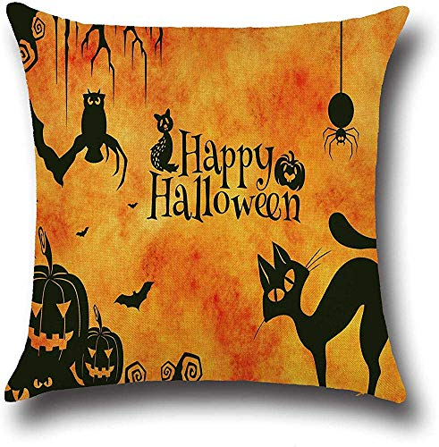Fhdang Decor Lovely Fashion Funny Sayings Happy Halloween Quotes Pillowcase Tree Branch Owl Bat Spider Pumpkin Pillow Covers Cushion Case Protector 18 x 18 inch Square for Living Room