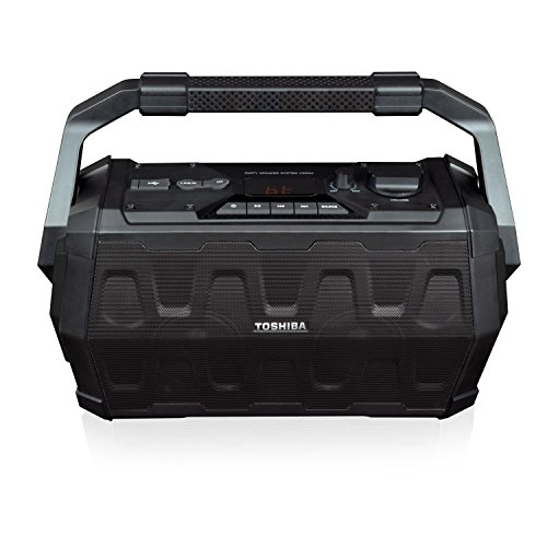 Toshiba TY-ASC20 Trolley Wireless Bluetooth Speaker: Rechargeable IPX4 Water Resistant Indoor Outdoor Boombox with FM Radio, USB and Microphone Input