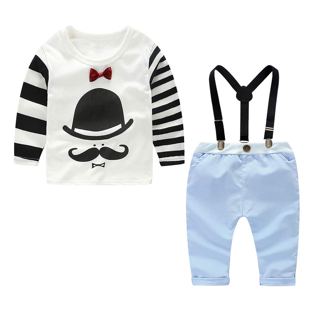 Toddler Bib Overalls Clothing Set Boys Gentleman Outfit Set Kids Autumn and Winter Casual Set(White 2-3Years) by Yilaku