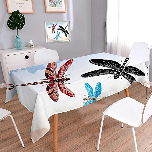 PINAFORE HOME Rectangle Tablecloth Dragonfly Stencil in Three variants Table Top Cover/Oblong, 60 x 140 Inch