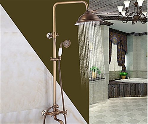 WYMBS Antique Brass Finish In Wall Bathroom Rainshower Set Shower Panel Rainfall Massage System Faucet With Jets Hand Shower