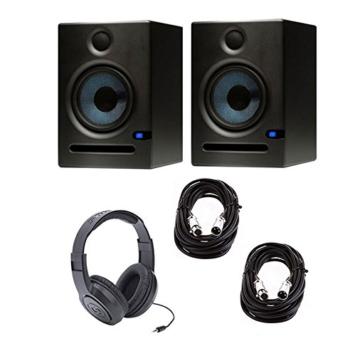 Presonus Eris E5 Pair - Pair of High-Definition 2-way 5.25 inch Near Field Studio Monitors + FREE AKG K44 HP + (2) XLR TO XLR CABLES 20FT (2 Way Near Field Monitor)
