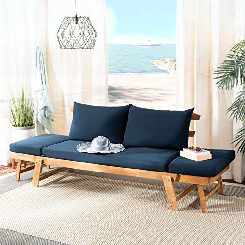 Safavieh PAT6745D Outdoor Collection Tandra Teak and Navy Modern Contemporary Daybed Day Bed, Natural