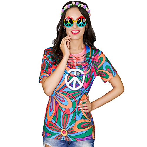 70s Costumes Couples (Women's Hippie 60's 70's Costume Adult Youth T Shirt (Medium))