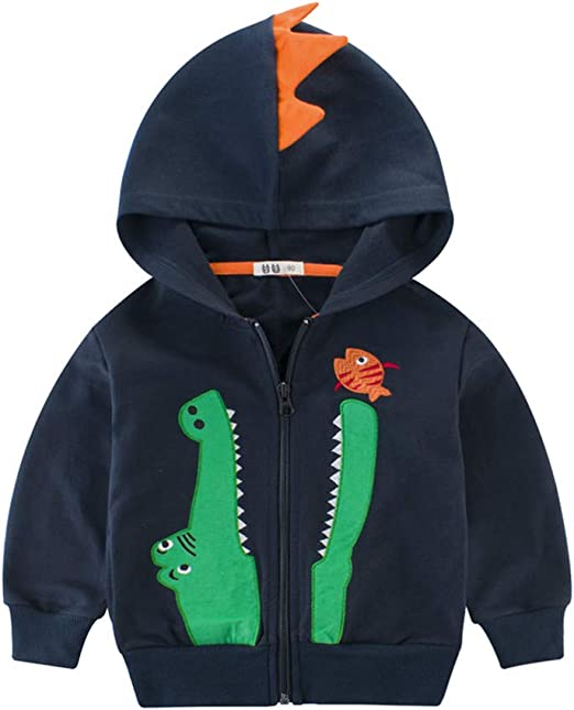 LitBud Toddler Boys Hoodies Jacket Cartoon Dinosaur Zipper Packaway Autumn Coat for Kids 1-7 Years 5-6 Year, Yellow