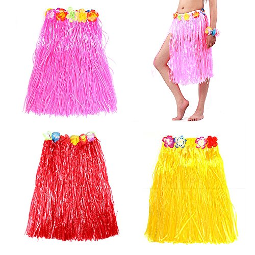 Hula Costume Patterns (Koogel 3 Pcs Hawaiian Grass Skirt ,Plastic Flower Skirt , Hula Grass Skirt for Costume Party, Events, Birthdays, Celebration(Pink Red Yellow ))