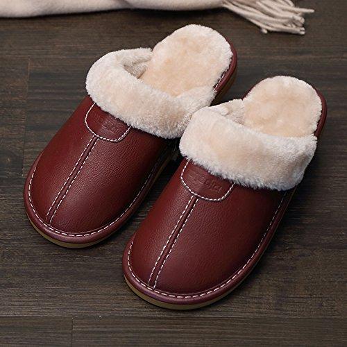 Fankou Indoor pantofole di cotone femmina pacchetto invernale con grazioso personaggio dei fumetti post-pantofole uomini cotone e ,43-44, di colore marrone scuro