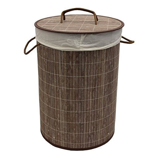 Cheap JVL Round Collapsible Laundry Basket, Bamboo, Brown, 35 x 50 cm for sale
