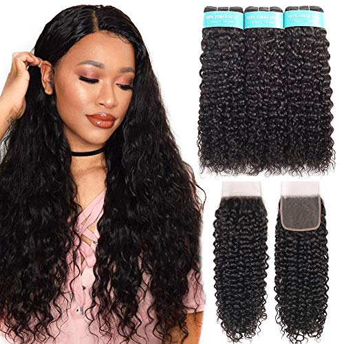Allrun Hair Water Wave 3 Bundles With Closure (18 20 22+16closure) Brazilian Human Hair Bundles With Closure Water Wave Unprocessed Brazilian Virgin Hair Natural Color from ALLRUN
