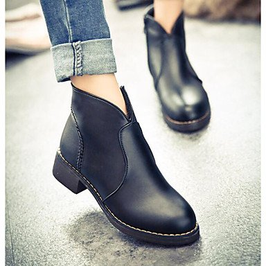 Resorte De Botas Marrón pwne Plano EU36 Casual US6 CN36 Negro Confort Pu Mujeres De UK4 1qwHfp