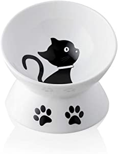 SWEEJAR Raised Cat Bowl for Dry Wet Cat Food, Ceramic Elevated Pet Bowl Cat Dish, Protect Cat's Spine, Stress Free, Slanted Design for Cat Easy Eating, 10 oz, Dishwasher Safe (White)