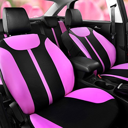 AutoDecorun Custom Fit Car Seat Covers For Renault Koleos Megane Kadjar Captur Fluence Scenic Talisman Latitude Laguna Perforated Leatherette Seat Supports Cover Airbag Compatible (Black X Pink)