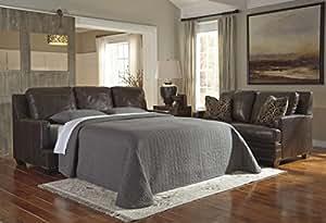 Ashley Corvan Queen Leather Sleeper Sofa in Antique