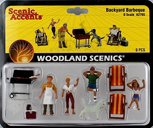 Scenic Accents Backyard Barbeque (4 Figures, 2 Chairs, Grill, Cooler & Dog) O Woodland Scenics