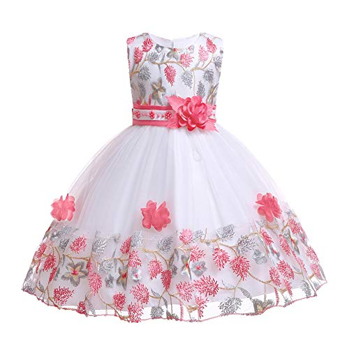 LIVFME Flowers Girls Dresses Embroidery Floral Kids Wedding Party Ball Gowns Elegant Bridesmaid Dress 2t 3t M02F100 ()