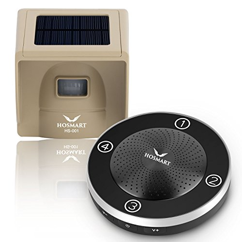 Hosmart 1/4 Mile Long Range Rechargable Wireless Solar Driveway Alarm System Driveway Sensor Alert Weatherproof Security Outdoor Motion Sensor & Detector No Need Replace Batteries Forever