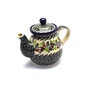 Polish Pottery Teapot – 20 Oz. – Burgundy Berry Green