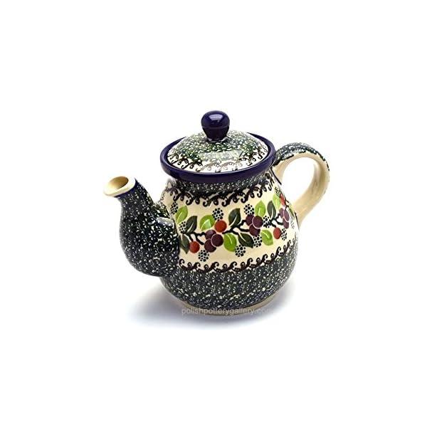 Polish Pottery Teapot – 20 Oz. – Burgundy Berry Green