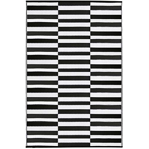 Earth Collective Recycled Easy Clean Outdoor Mat - The Original Plastic Outdoor Rug 5x8 - Reversible, UV & Mildew Proof, Eco - Bayside Stripe Black & White, Patio, Beach, Picnic or RV Camping