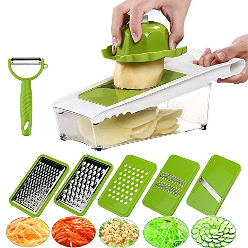 Mandoline Slicer Vegetable Slicer Grater Cutter Chopper, Julienne Slicer Food Slicer with 5 Interchangeable Stainless Steel Blades Food Container Safety Holder Vegetable Peeler (Slicer Grater)