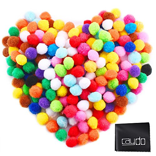 Caydo 240 Pieces 1 Inch Pom Poms for Hobby Supplies and DIY Creative Crafts Decorations, Assorted (Craft Cotton Balls)