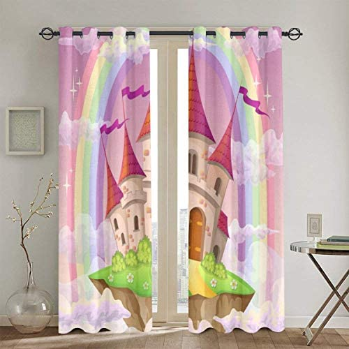 okstore1988 Punch Curtains,Fantasy Flying Island - a good cheap window curtain panel