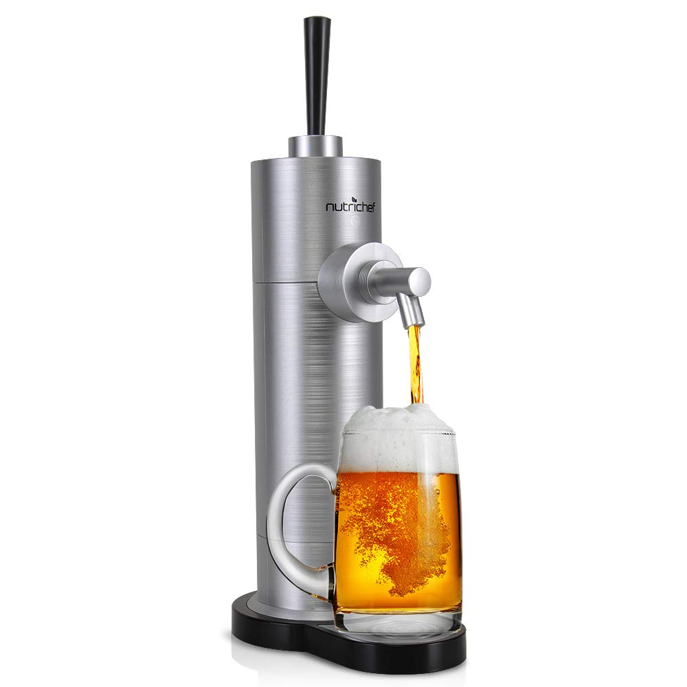 NutriChef PKBRFMSR22.5 Portable Electric Drink Dispenser-Beer Tap Pump Automatic Alcoholic Server-Battery Powered System, Stainless Steel Look for Countertop, Party