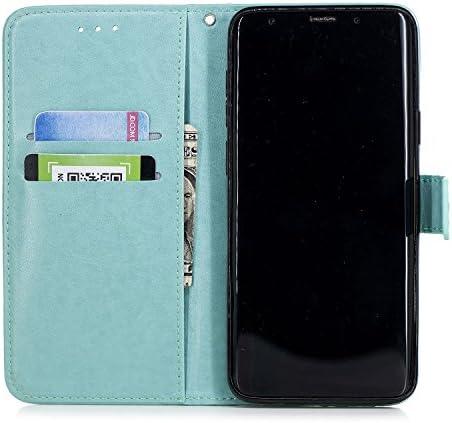 Docrax Galaxy S9+ / docomo SC-03K / au SCV39 ケース 手帳型 スタンド機能 財布型 カードポケット マグネット ギャラクシーS9プラス 手帳型ケース レザーケース カバー - DOXCH020289 金
