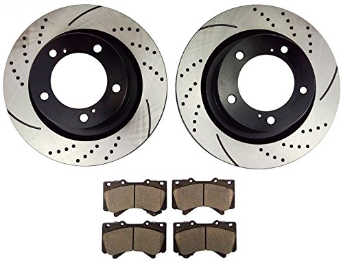 Atmansta QPD10002 Front Slotted & Drilled Rotors and Ceramic Pads Brake Kit for Toyota Land Cruiser Sequoia ()