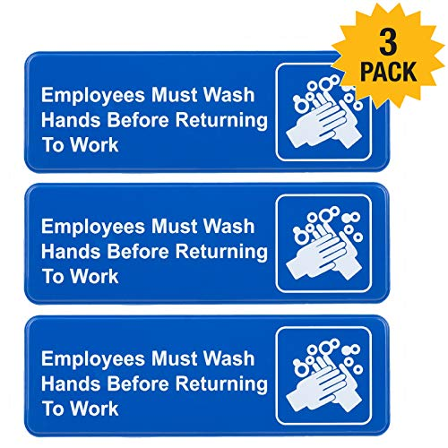 (Employees Must Wash Hands Before Returning to Work Sign: Easy to Mount Plastic Safety Informative Sign with Symbols Great for Business, 9