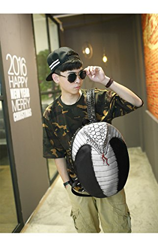 Doble bandolera Halloween Rock unisex 3D Cobra iPad mochila Plateado