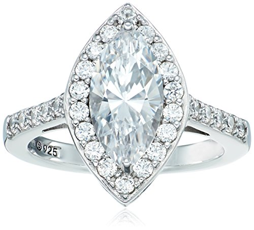 Platinum Plated Sterling Silver Swarovski Zirconia Marquise Vintage Style Ring, Size 7 by Amazon Collection
