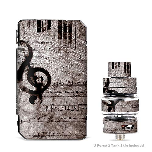 IT'S A SKIN Decal Vinyl Wrap for VooPoo Drag 2 V2 & UForce T2 Tank Vape Sticker Sleeve Cover/Vintage Piano Key Music Notes Book Page
