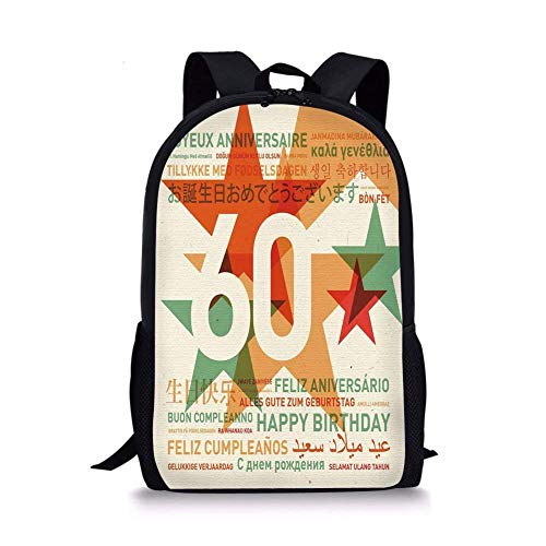 School Bags 60th Birthday Decorations,World Cities Birthday Party with Abstract Stars,Green Vermilion and White for Boys&Girls Mens Sport -