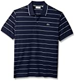 Lacoste Men's Short Sleeve Heritage France Stripe Waffle Slim Polo, PH3199, Navy Blue/Cake/Flour White, L