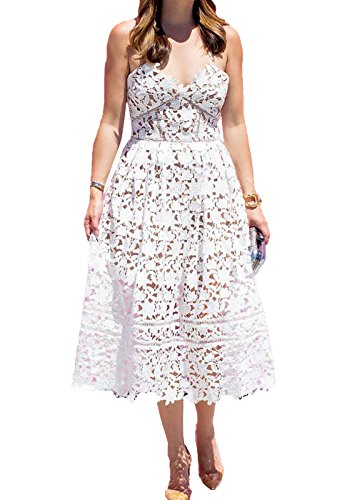 AlvaQ Women's Summer V Neck Bridesmaid Lace Party Midi Dress Wedding Cocktail White,Small