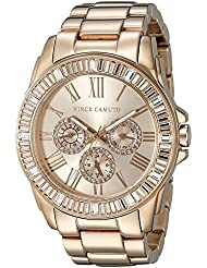 Vince Camuto Womens VC/5158RGRG Swarovski Crystal Accented Multi-Function Dial Rose Gold-Tone Bracelet Watch