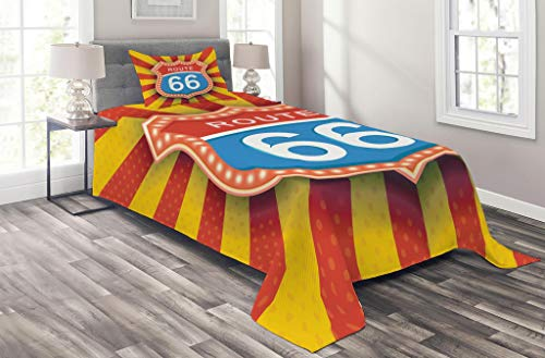 Trip American Traditional Road (Lunarable Route 66 Coverlet Set Twin Size, Famous American Road Trip Destination Signboard in Retro Style Arizona Graphic, 2 Piece Decorative Quilted Bedspread Set with 1 Pillow Sham, Multicolor)