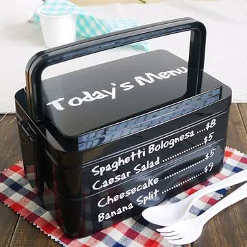 3 Layers Today's Menu Lunch Box Microwave Bento Box Japanese Style Bento Lunch Container - Dinnerware & Flatware Lunch Boxes - (Black) - 1Pcs x Food Box Lunch Box