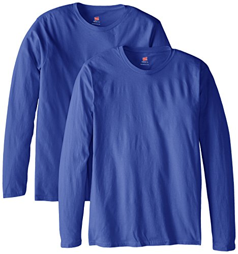 (Hanes Men's Long Sleeve Nano Cotton Premium T-Shirt (Pack of 2), Deep Royal,)