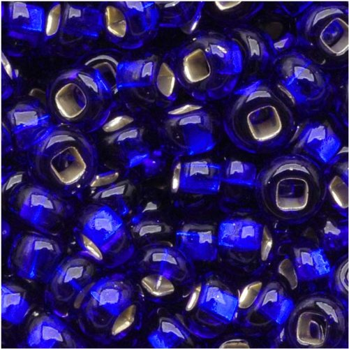 Czech Seed Beads 8/0 Silver Foil Lined Cobalt Blue (1 Ounce) (Foil Lined Glass Beads)