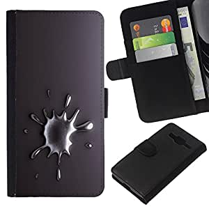 All Phone Most Case / Oferta Especial Cáscara Funda de cuero Monedero Cubierta de proteccion Caso / Wallet Case for Samsung Galaxy Core Prime // Metal Drop Tear Gray White Silver