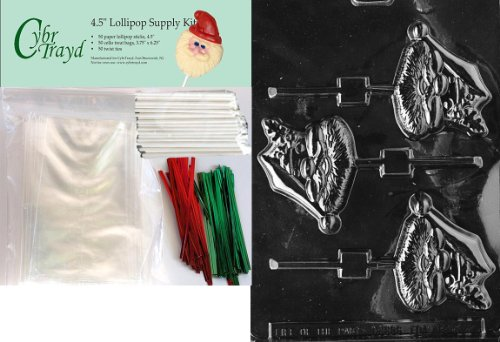 Cybrtrayd 45stK50C-C040 Santa Face Lolly Christmas Chocolate Mold with Lollipop Kit and Molding Instructions, Includes 50 Lollipop Sticks, 50 Cello Bags, 25 Red and 25 Green Twist Ties