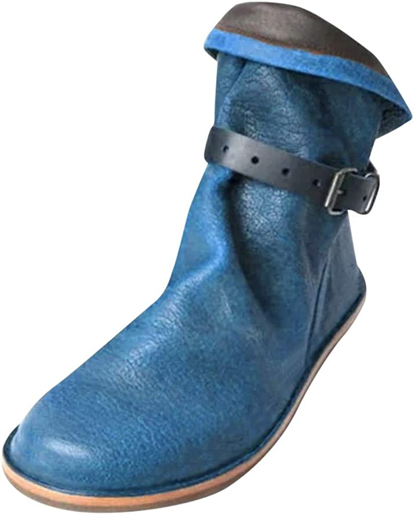 Botines De Cuero Otoño Vintage Zapatos De Mujer Botas Cómodas Plano Bota Corta Botas Planas Martin, Botines De Cuero Zapatos Planos Botas Cortas De Mujer (Azul, EU:39.5 25.5cm/10
