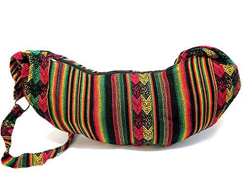 - Large Wide Boho Rasta Peruvian Tribal Print Striped Pattern Half Moon Crescent Shaped Casual Travel Hobo Bag Purse w/Adjustable Crossbody Strap