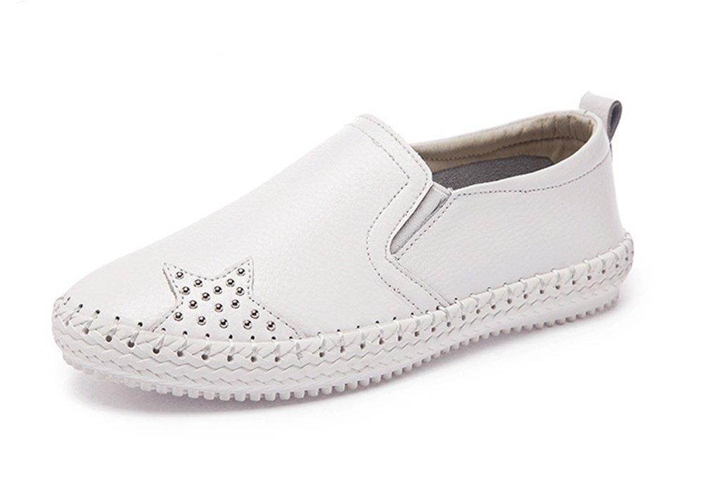 XIE Primavera Verano Otoño Rhinestones Hilo de Coser Recorte Transpirable Zapatos de Mujer Moda Corte bajo Zapatos Blancos Planos Mujer 35-39, Blanco, 38 38|Blanco