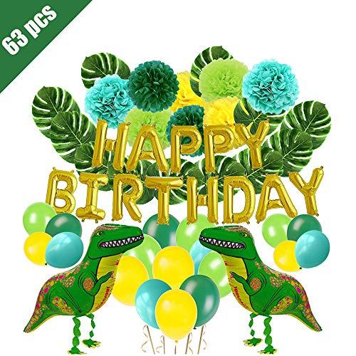 - Lehoo Castle Dinosaur Balloons for Birthday, 63pcs Dinosaur Party Decoration for Kids, Dino Birthday Decorations for Boy, Happy Birthday Balloons, Pom Poms Flowers, Dinosaur Balloons, Monstera Leaves