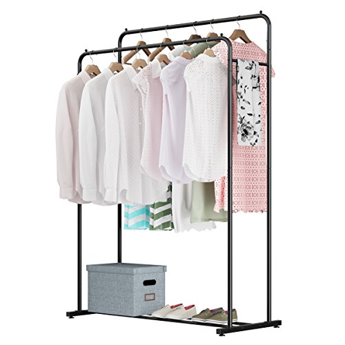 Rackaphile Clothes Rack, Clothes Organizer, Adjustable Double Rails Heavy Duty Garment Rack for Balcony and Bedroom (Black)