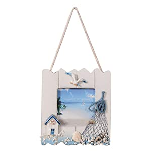 Vosarea Wooden Picture Frame Wall Hanging with Seashell and Fishing Net Nautical Beach Themed Home Décor