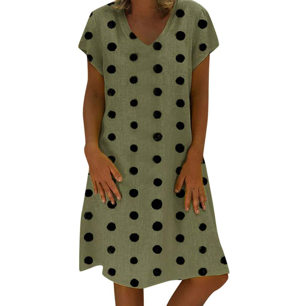 MRURIC❀ Kleid Damen Sommer Cocktail Etuikleid Damenmode Dot V-Ausschnitt Kurzarm Kleid Freizeit Minikleid Lose Strandkleider Bodycon Ballkleid Partykleid Elegant Trägerkleid Sommerkleid
